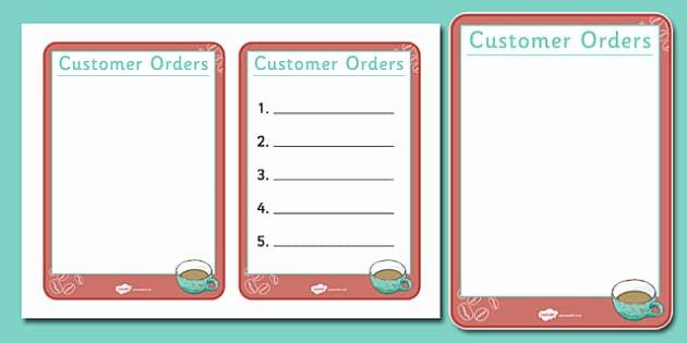 Customer order form Template Unique Cafe order forms Ks1 Teacher Made