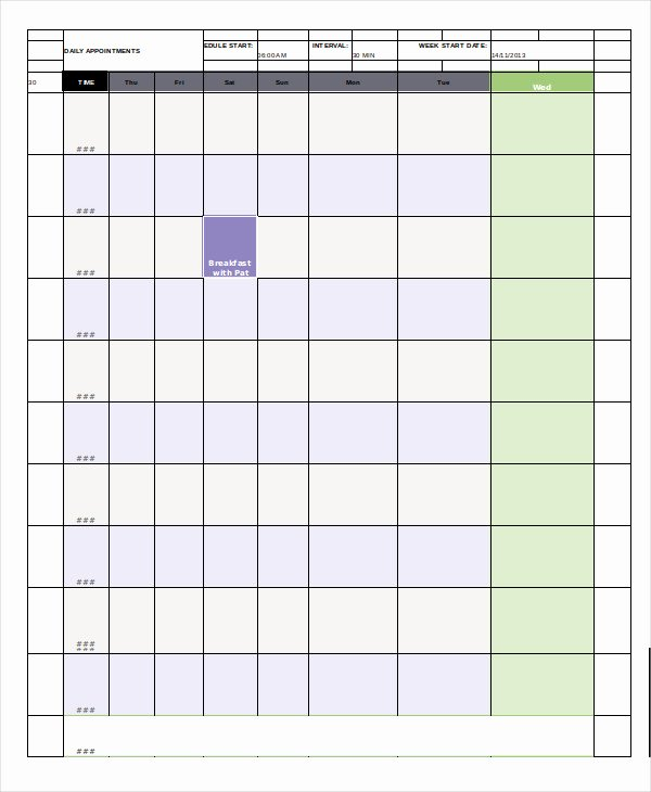 Daily Appointment Schedule Template Awesome Daily Calendar Free Pdf Word Documents Download