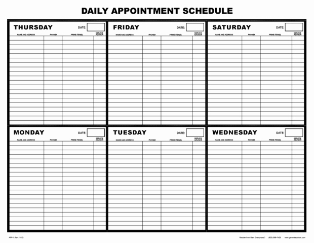 Daily Appointment Schedule Template Awesome Salon Appointment Book Template