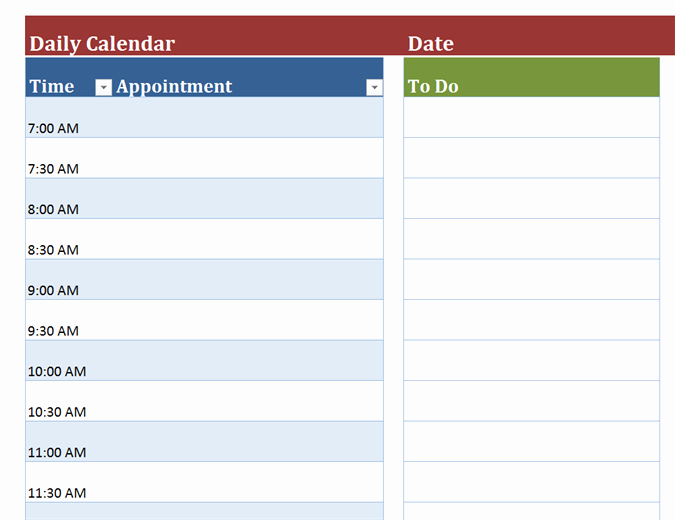 Daily Appointment Schedule Template Inspirational Blank Daily Calendar
