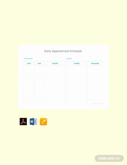 Daily Appointment Schedule Template Inspirational Free Daily Appointment Schedule Template Pdf