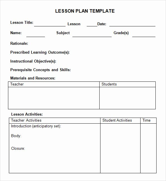 Daily Lesson Plan Template Word Awesome Best S Of Preschool Lesson Plan Template Pdf