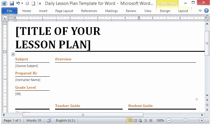 Daily Lesson Plan Template Word New Microsoft Word Template for Making Daily Lesson Plans