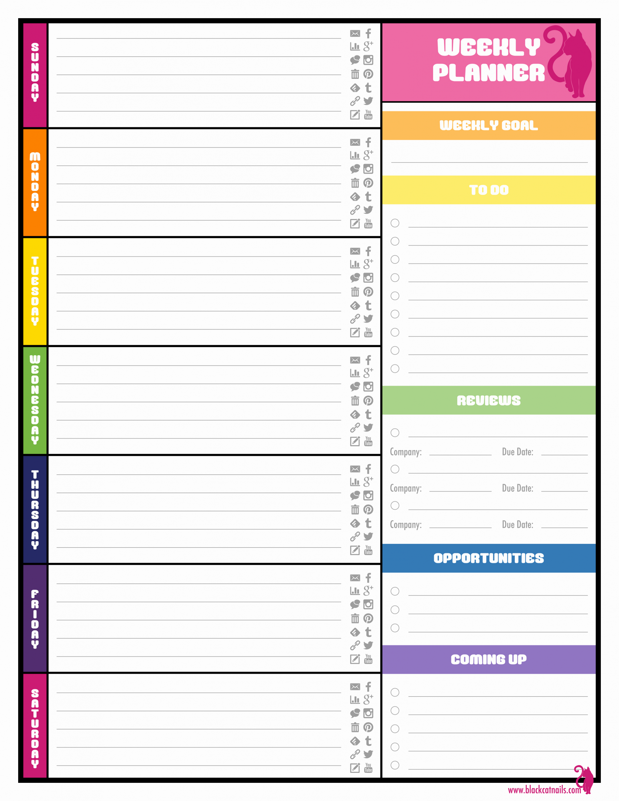 Daily Planner Printable Template Elegant Colorful Weekly Blogging Planner Image