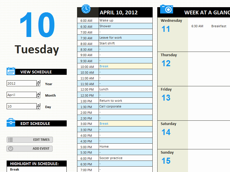 Daily Schedule Excel Template Awesome Daily Work Schedule Templates Fice