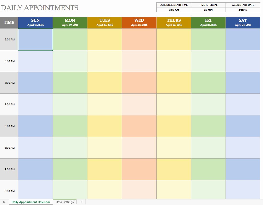 Daily Schedule Excel Template Elegant Daily Calendar Template