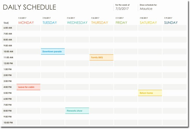 Daily Schedule Excel Template Unique 7 Daily Itinerary Templates formats to Download In Excel