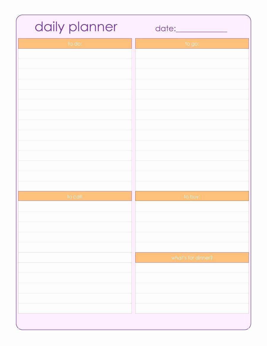 Daily Schedule Planner Template Best Of 47 Printable Daily Planner Templates Free In Word Excel Pdf