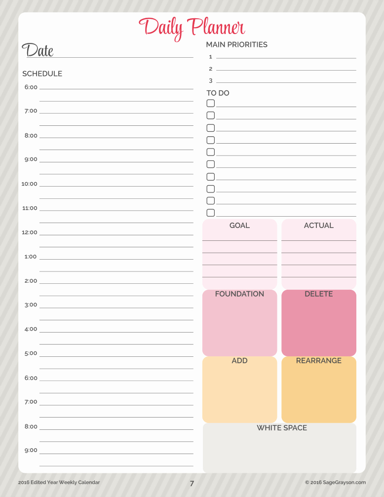 Daily Schedule Planner Template Elegant Free Printable Worksheet Daily Planner for 2016 Sage