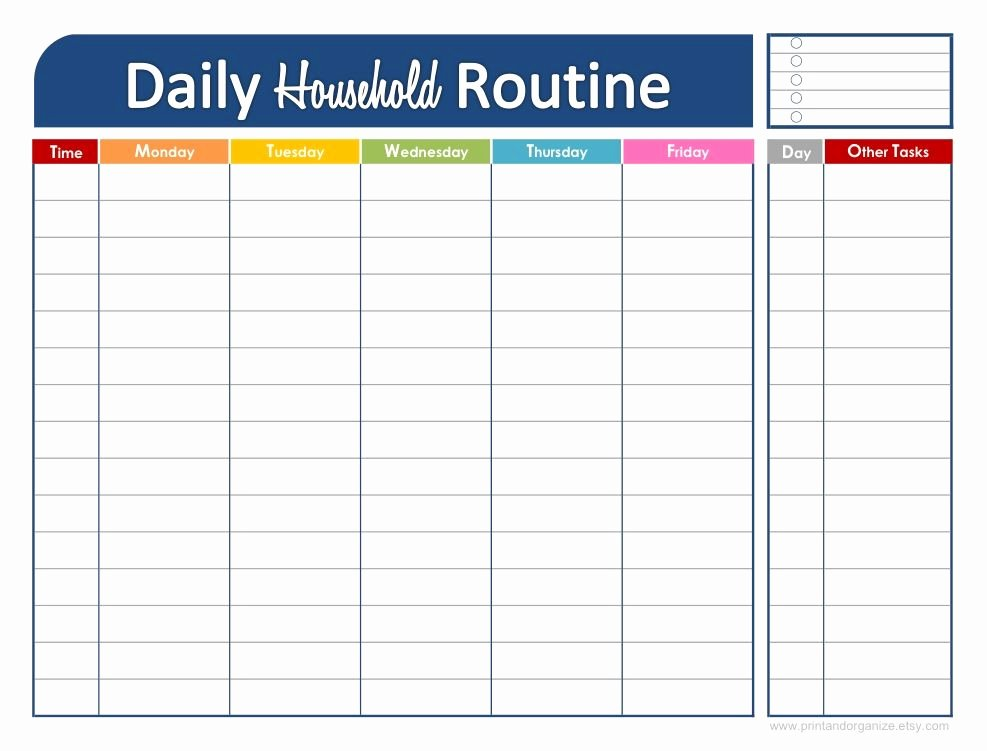 Daily Schedule Planner Template Fresh Fresh and organized Your Daily Household Routine