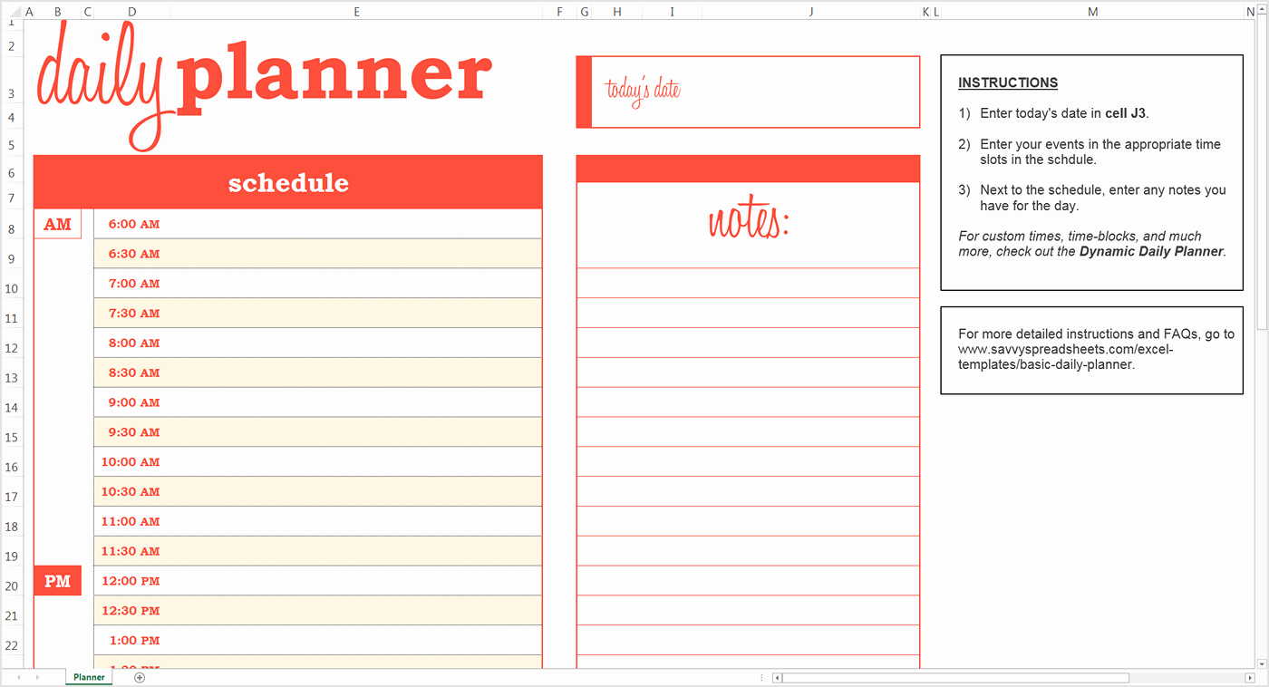 Daily Schedule Template Free Fresh Daily Planner Template Excel