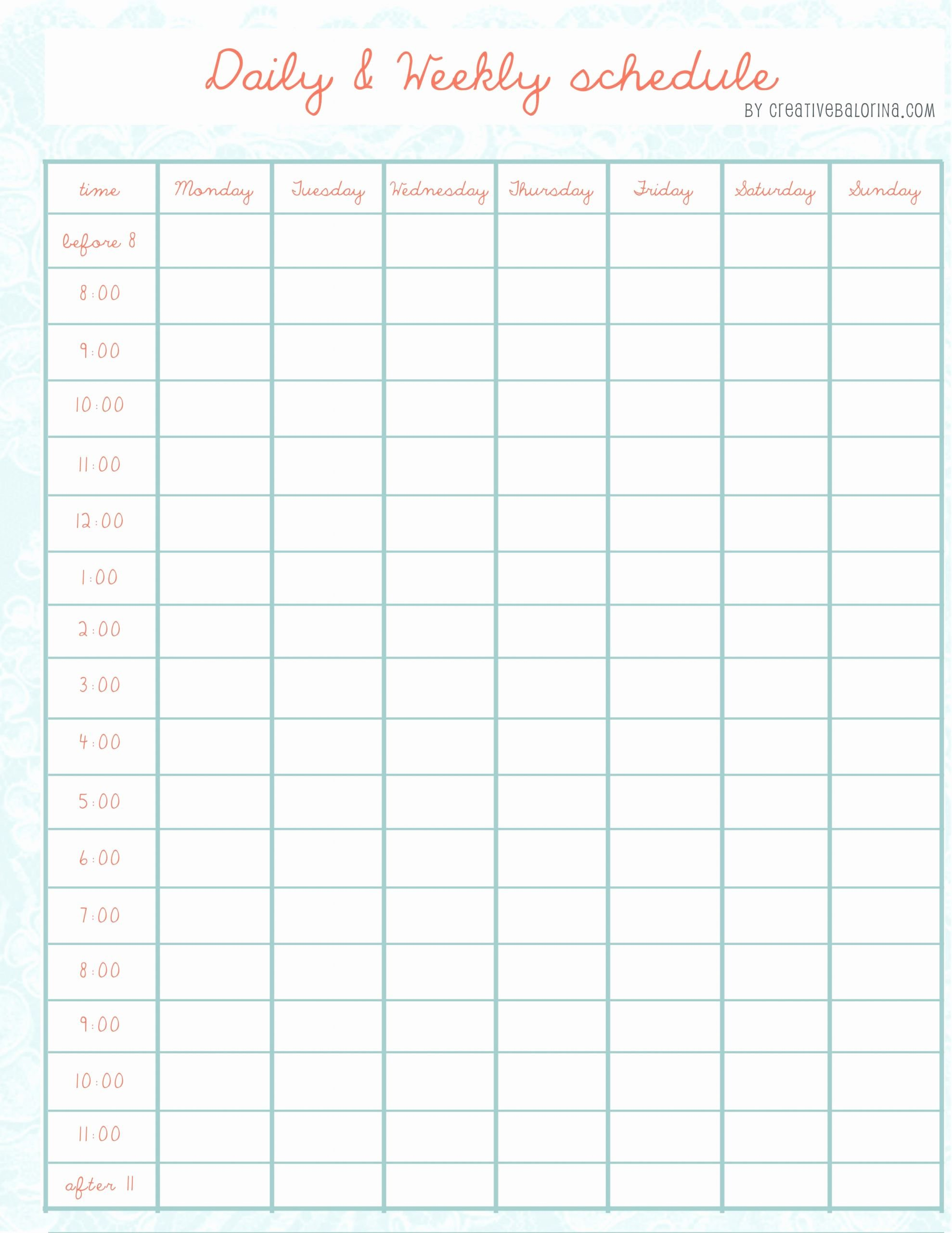 Daily Schedule Template Free Fresh Pin by Adrian Youngman On Weekly