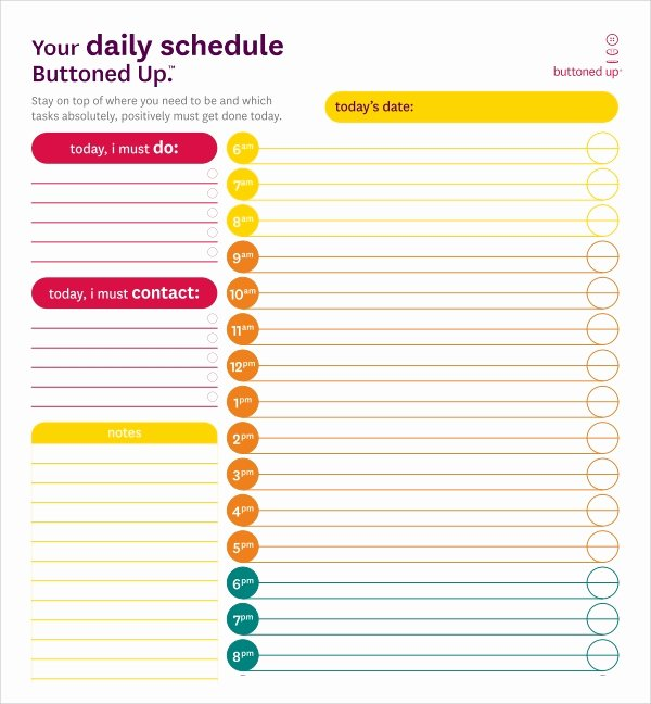 Daily Schedule Template Free New Free 24 Printable Daily Schedule Templates In Pdf