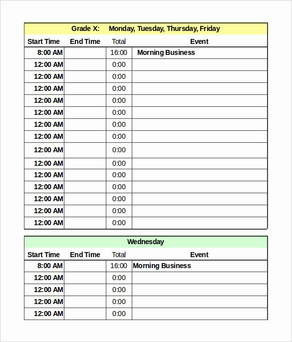 Daily Time Schedule Template Elegant Daily Schedule Template 39 Free Word Excel Pdf
