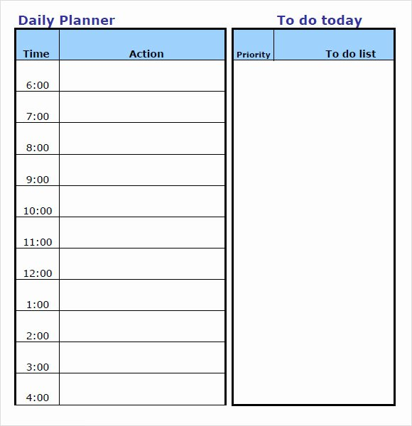 Daily Time Schedule Template Luxury Free 10 Daily Planner Templates In Free Samples Examples