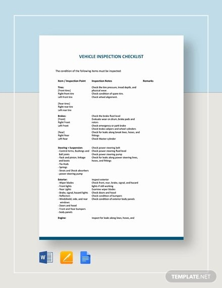 Daily Vehicle Inspection form Template Inspirational 22 Inspection Checklist Templates Word Pdf Google