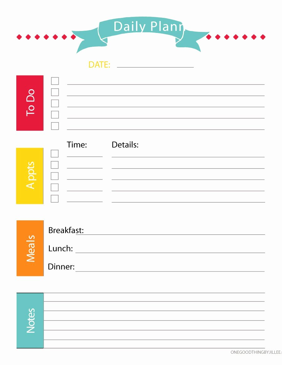 Daily Work Planner Template Awesome 47 Printable Daily Planner Templates Free In Word Excel Pdf