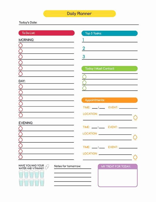 Daily Work Planner Template Awesome Time Management Daily Planner