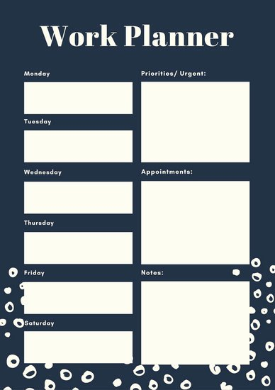Daily Work Planner Template Elegant Customize 181 Weekly Schedule Planner Templates Online