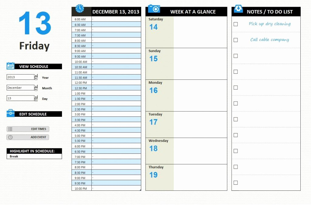 Daily Work Planner Template Elegant Daily Work Schedule Template Excel