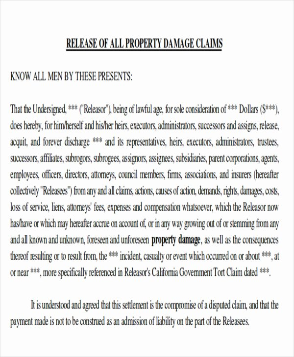Damage Waiver form Template Awesome Sample Property Damage Release form 9 Examples In Word Pdf