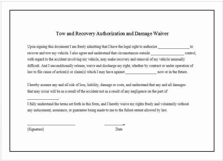 Damage Waiver form Template Beautiful towing Pany Business Damage Waiver