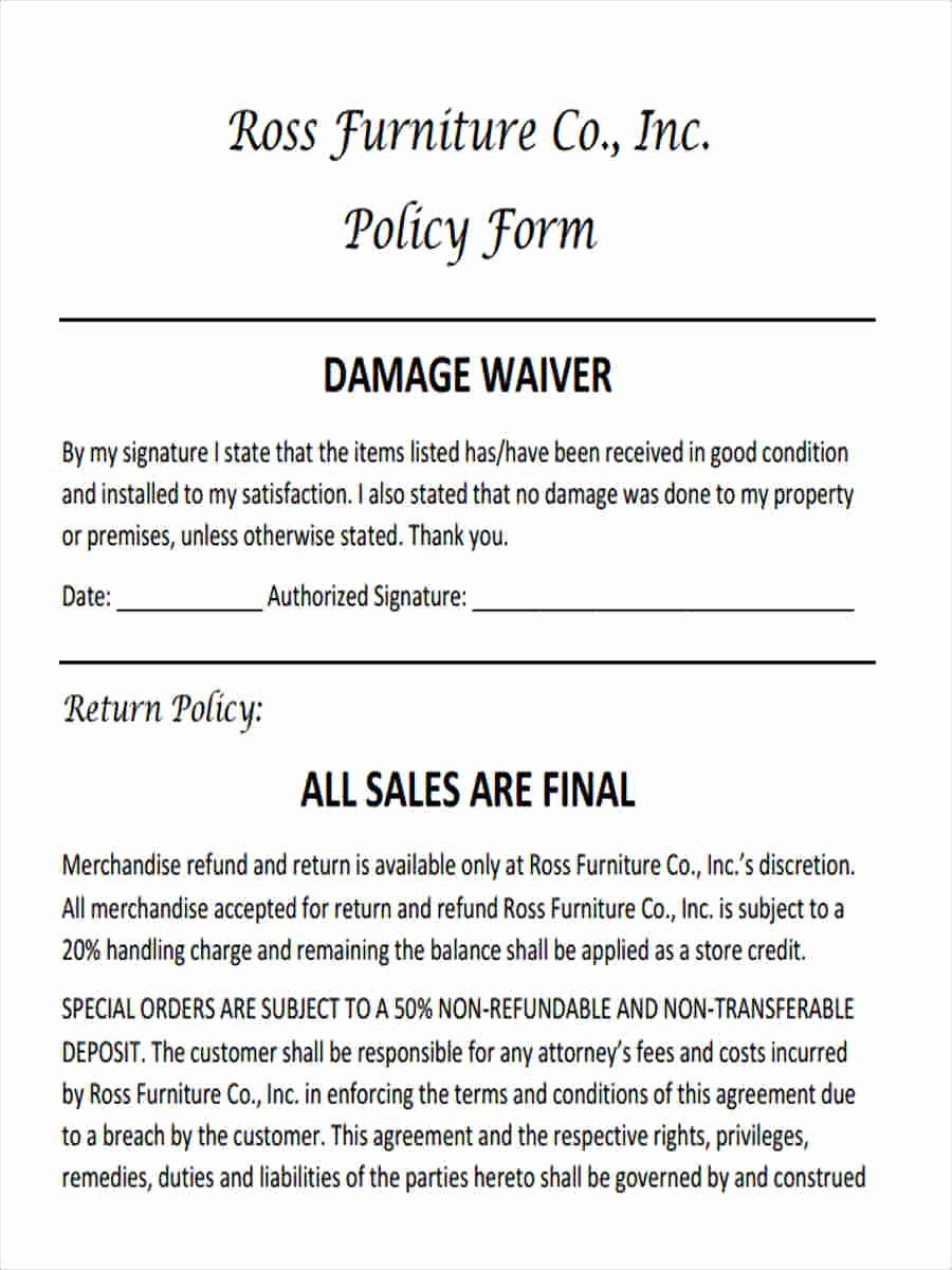 Damage Waiver form Template Lovely Free 5 Sample Damage Waiver forms In Word