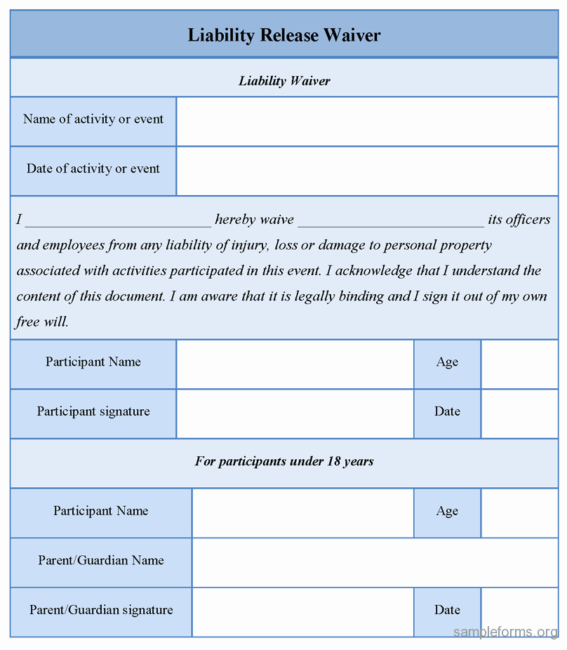 Damage Waiver form Template Luxury Free Printable Liability Release form Template form Generic