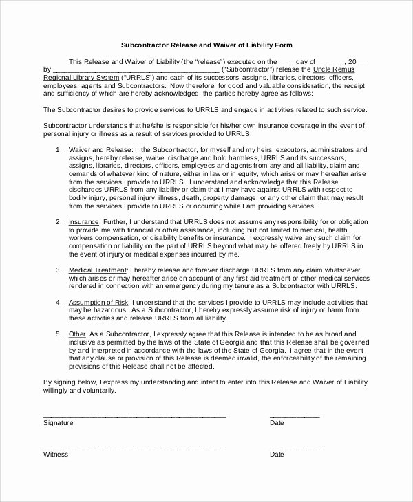 Damage Waiver form Template Luxury Sample Waiver Of Liability 8 Examples In Pdf Word