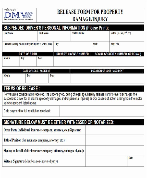 Damage Waiver form Template New Sample Property Damage Release form 9 Examples In Word Pdf