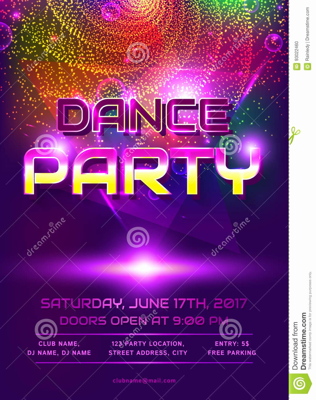 Dance Party Invitation Template Beautiful Dance Party Invitation Stock Vector Illustration Of