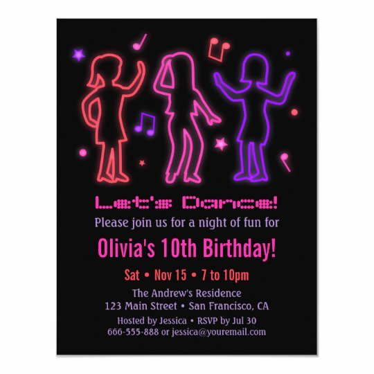 Dance Party Invitation Template Best Of Faux Neon Glow Dance Birthday Party Invitations