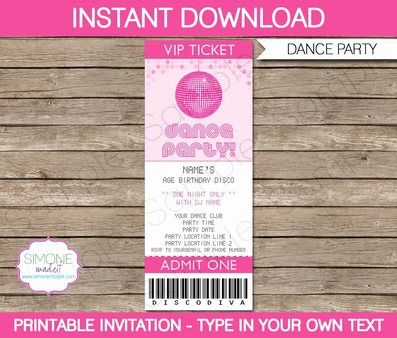 Dance Party Invitation Template Elegant Dance Party Ticket Invitation Template Birthday Party