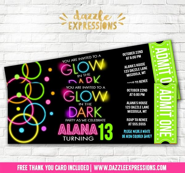 Dance Party Invitation Template Inspirational Printable Glow In the Dark Ticket Birthday Invitation