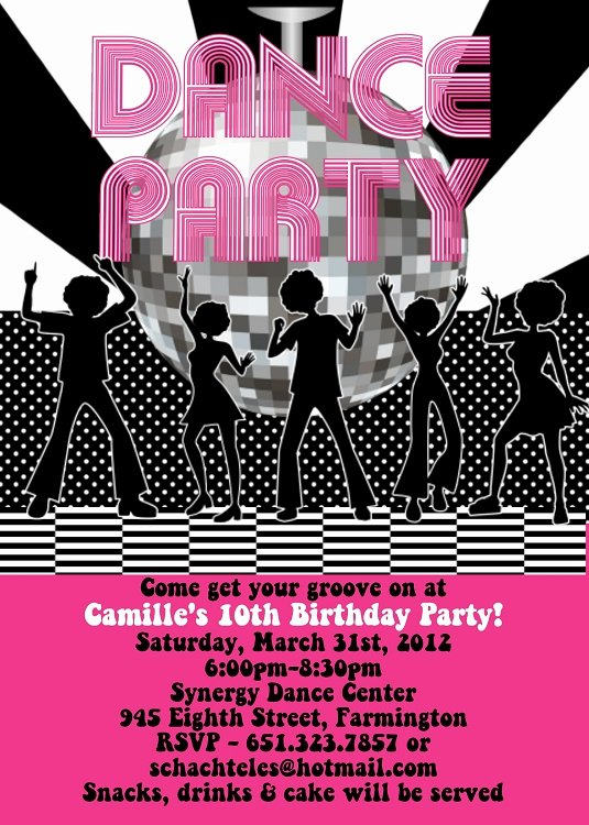 Dance Party Invitation Template Lovely Disco Dance Birthday Party Invitations Printable or Printed