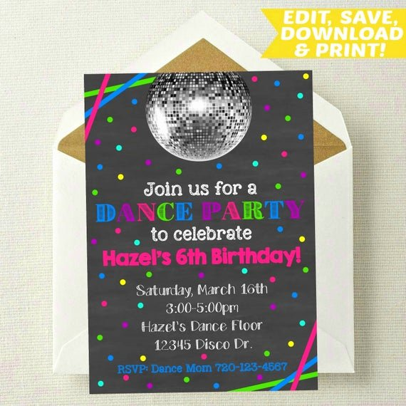 Dance Party Invitation Template Luxury Dance Invitation Dance Party Editable Invite Dance