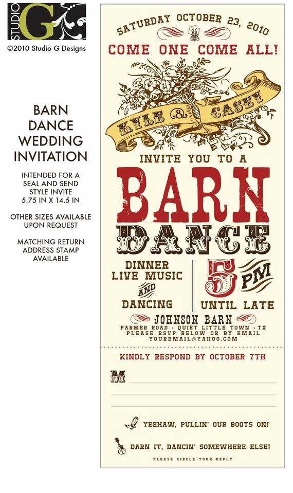 Dance Party Invitation Template Luxury Vintage Barn Dance Wedding Invitation