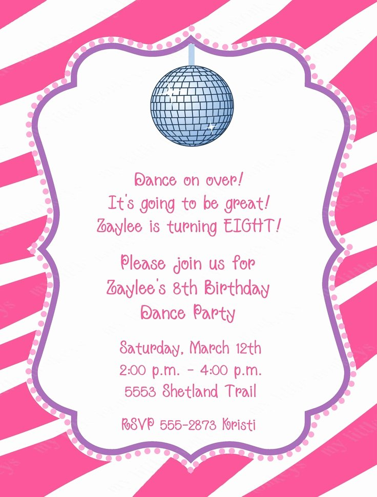 Dance Party Invitation Template New 10 Dance Disco Birthday Party Invitations with Envelopes