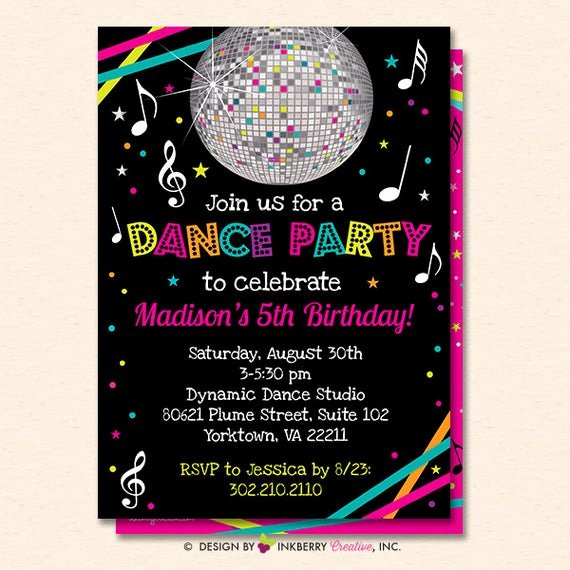 Dance Party Invitation Template New Dance Party Invitation Dance Party Invite Neon Glow Dance
