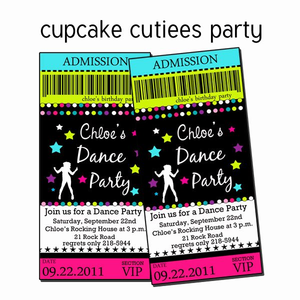 Dance Party Invitation Template New Dance Party Pop Neon Rock Star Digital Custom Invitation