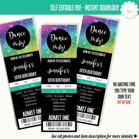 Dance Party Invitation Template New Dancing Party Invitation Dance Party Ticket Template Instant