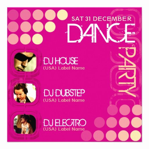 Dance Party Invitation Template New Pink Club Dj Dance Party Template Invitation 5 25