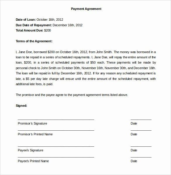 Debt Payment Plan Template Fresh Agreement Templates