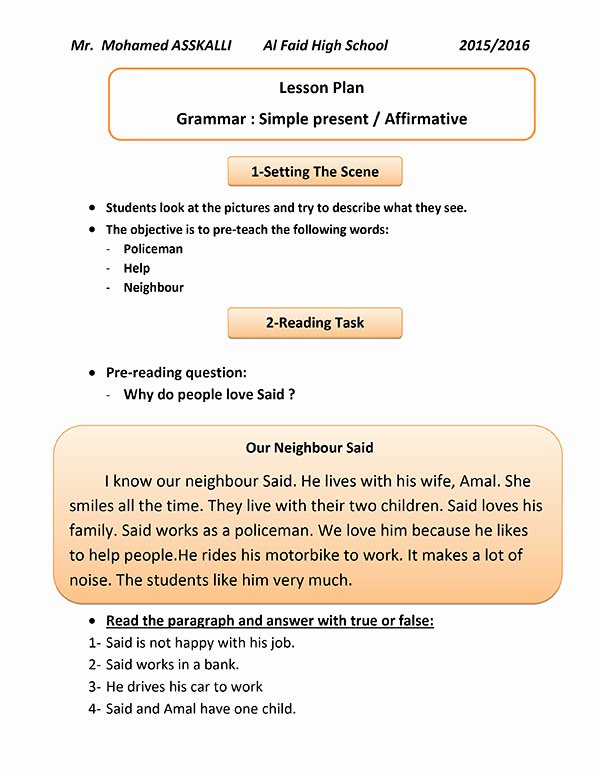 Demo Lesson Plan Template Elegant A Demo Lesson Plan for A Municative Grammar Session