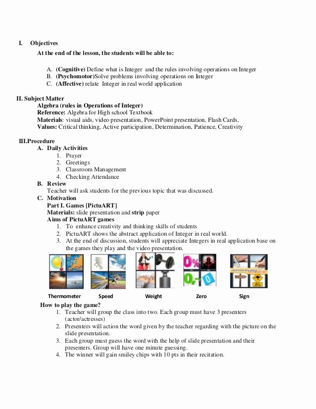 Demo Lesson Plan Template Luxury Math Lesson Plan Sample for Demo Teaching