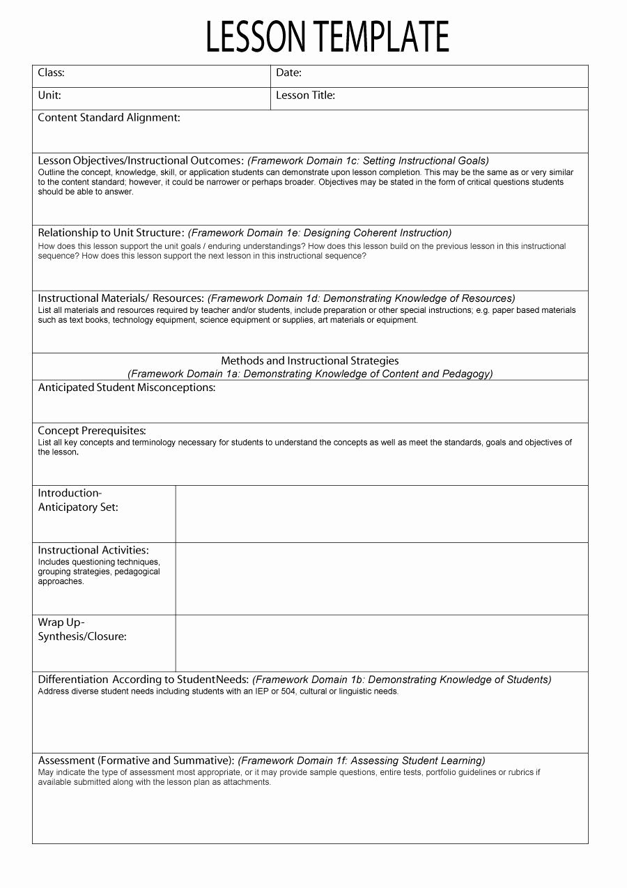 Demo Lesson Plan Template New Lesson Plan format Lesson Plan Template