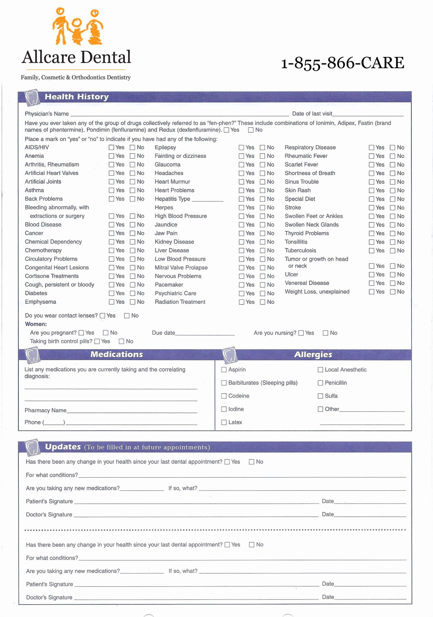 Dental Medical History form Template Awesome Medical History form for Dental Fice