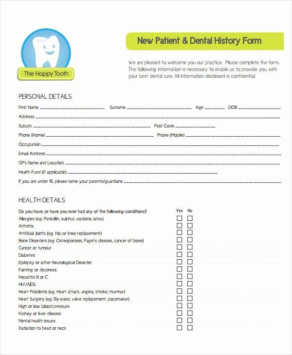 Dental Medical History form Template Beautiful Medical History form 9 Free Pdf Documents Download