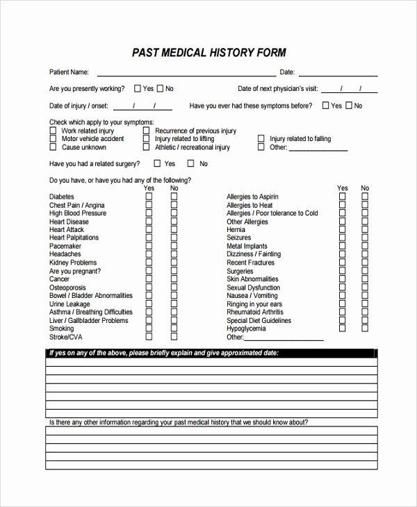 Dental Medical History form Template Best Of Sample Medical History Template 9 Free Documents