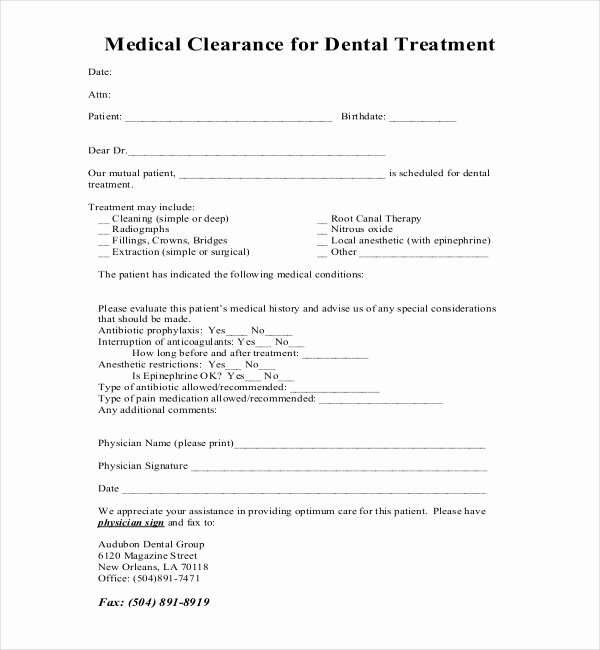 Dental Medical History form Template Fresh Medical Clearance form for Dental Treatment